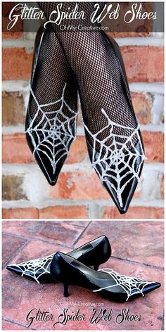 halloweencrafts:  DIY Glitter Spiderweb Shoes Tutorial from Oh My! Creative. These are detachable spiderwebs made out of glue and glitter.