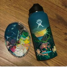 ˗ˏˋ⋆ | 𝐩𝐢𝐧: @𝐣𝐞𝐧𝐧𝐠𝐮𝐲𝐞𝐧𝟏𝟏𝟒 Water Bottle Art, Cute Water Bottles, Drink Bottles, Water Bottle Design, Hydro Painting, Bottle Painting, Custom Hydro Flask, Hydro Flask Water Bottle, My New Room