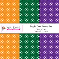 Free Bright Polka Dot Digital Papers for Scrapbooking, Crafts and Teachers - SallieBorrink.com