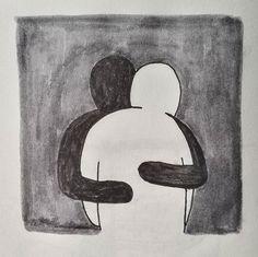 Dia 14 i 15 - Amor i dos colors #artnestoltes _ #hug #love #sketchbook #sketching #art #artwork #illustration #ink #pen #brushpen #blackwhite #minimal
