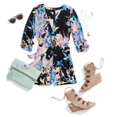 Summer outfit idea: Opt for a floral romper and gladiator sandals for day-to-date-night style perfection. Stay cool in this season's fashion trends with Stitch Fix! Schedule a Fix to receive hand-picked clothing & accessories like this from your own personal stylist.