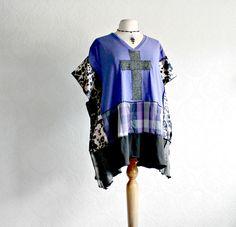 Gothic Cross Purple Tunic 2X Plus Size by BrokenGhostClothing, $75.00