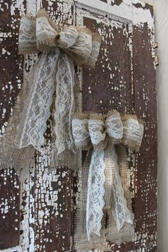 Two burlap and lace wedding/christmas/fall bows by bowsmadebyash