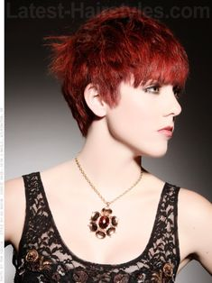 Dramatic Deep Red Hues Side Swept Pixie - Long Face Framing Pieces   Side view...