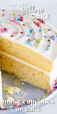 Cake Recipes From Scratch, Best Cake Recipes, Cupcake Recipes, Sweet Recipes, Dessert Recipes, Recipe For Cakes, 3 Egg Cake Recipe, Cookie Recipes, Basic Yellow Cake Recipe