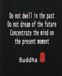 Do not dwell in the past. Do not dream of the future. Concentrate the mind on the present moment. ~ Buddha