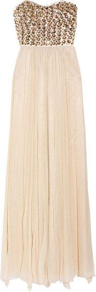 Rachel Gilbert Danae Embellished Silkchiffon Gown in Beige (nude)