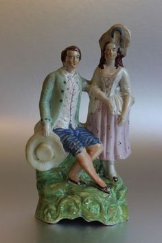 Antique 19th c Staffordshire pottery courting lovers flatback figure figurine