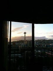 The Seattle skyline as Jackie saw it from the hotel window in the seduction scene.