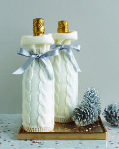 Bring your holiday hostess a gift in these knit wine bags from Martha Stewart Crafts