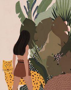 Leopard & Girl Illustration, Woman illustration print, Tropical Vibes Illustration, Girl Art, Illustration Print, Digital Art, Wall Decor