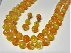 Orange Plastic Beaded Necklace and Earring Set Vintage 1960s Signed Hong Kong Molded Bead Jewelry Set by letsreminisce on Etsy