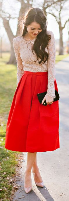 Red midi skirt + lace top.