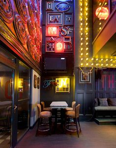 Neon lights pub design