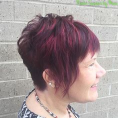 Pixie With Burgundy Highlights