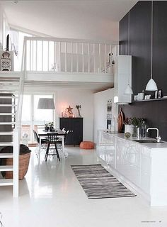 Ceilings high enough for lofts, probably no kitchen though. (I know this is a loft apartment, but Im thinking more for having this type of a room in an actual house.) - Home Decor Pin Küchen Design, Home Design, Design Ideas, Blog Design, Design Trends, Condo Design, Cottage Design, Wall Design, Interior Exterior