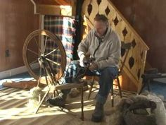Flax spinning - part 6, spinning tow on a Canadian wool wheel
