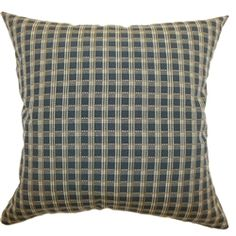 A combination of classic black, tan and yellow shades add flair and dimension to this throw pillow. This accent pillow features a striking plaid print pattern. Enjoy a plush and comfortable setting by adding this decor pillow on your o. Incorporate this contemporary pillow with other decor styles for a stunning home design. This square pillow is made from 60% soft cotton and 40% polyester fabric. $55.00  #plaid #pillows #tosspillow #homedecor