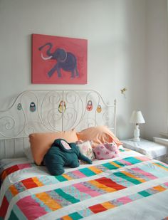 Girl's Bedroom with Patchwork Duvet Cover