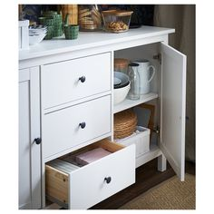 IKEA - HEMNES, Sideboard, white stain, Solid wood has a natural feel. Coordinates with other furniture in the HEMNES series. Ikea Buffet, White Sideboard Buffet, White Buffet Table, White Credenza, Sideboard Ideas, Kitchen Sideboard, Modern Sideboard, Hemnes Sideboard, Solid Pine