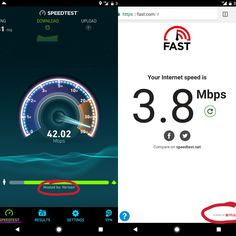Varying results of my internet speed  speedtest hosted by Verizon vs. fast.com powered by Netflix