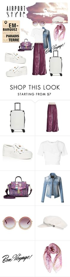 """airport  style"" by choupi70nette ❤ liked on Polyvore featuring CalPak, La Vie en Rose, Off-White, Marc Jacobs, T By Alexander Wang, LE3NO, Brixton, Heidi Swapp, Tim Holtz and airportstyle"