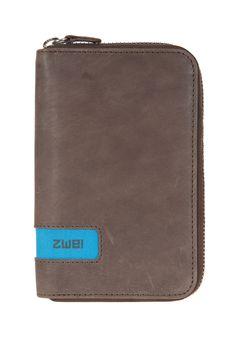 Geldbörsen :: PURSE :: P4   ZWEI Taschen Portemonnaie :: Leder :: braun :: mehrfarbig :: Reißverschluss