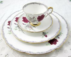 "Four Piece Place Setting by Royal Stafford, ""Roses to Remember"" Pattern, Red Rose, Bone China, Dinner Plate, Salad Plate, Tea Cup and Saucer"