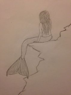 Mermaid sitting on the rocks- original