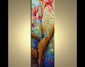 """Original  abstract contemporary Palette Knife Textured Thick Paint  floral fine art by P. Nizamas 30"""""""