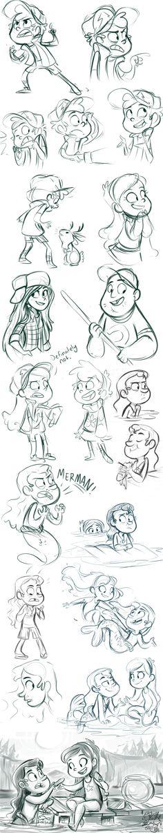 Realmente me gusta mucho la serie de Gravity Falls y el estilo de sus personajes podría ser una inspiración para los de Acción