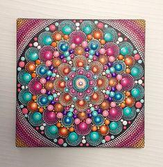 Original Orange-Pink Mandala Painting on Canvas, 17x17cm Painting, Office and home ornament decoration Gift Dotilism Dotart Henn