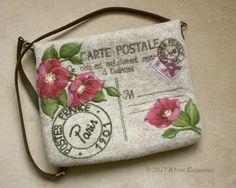 """Купить Валяная сумка-планшет """"Carte postale"""" - рисунок, войлок ручной работы, шерсть"""