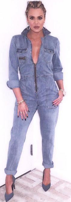 Khloe Kardashian: Bracelet – Cartier  Necklace- Monica Rose  Jumpsuit – Sea  Shoes – Saint Laurent