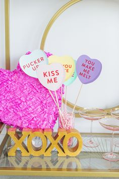 Galentine's Day bar cart: photo booth props