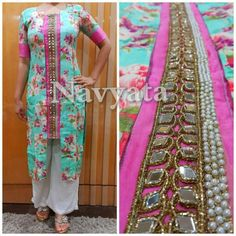 Pure jute chanderi kurti with mirror work n pearl border. For further details contact us on + 919892398900, + 919930413660