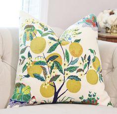 Schumacher Designer Linen Pillow - Citrus Garden Floral Pillow Cover - Blue Green & Chartruece Pillow - Botanical Throw Pillow