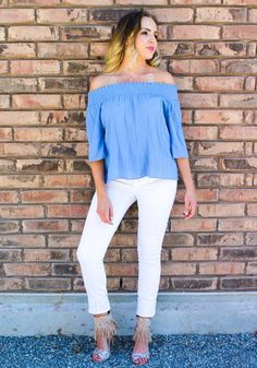 This Simply Yours slate blue off shoulder top that lays perfect on your shoulders can be simply yours! Goes perfect with the Princess Fringe-Pink heels. 100%