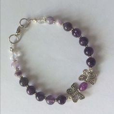 """Whimsical Butterfly Bracelet Cute Amethyst Bracelet with 2 Butterflies as a focal point set in silver will fit up to 8"""" Handmade Jewelry Bracelets"""