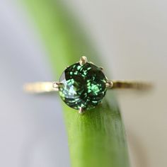 Portuguese Green Tourmaline In 14K Yellow Gold Ring