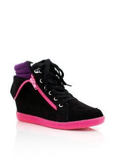 faux suede wedge sneakers $44.50