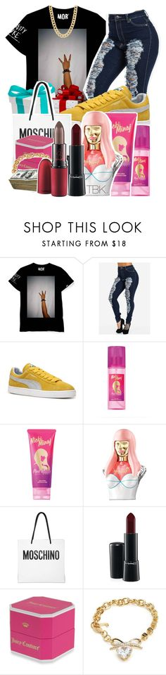 """Ain't no chrimuh bih"" by threadsbykeiko ❤ liked on Polyvore featuring Puma, Nicki Minaj, Moschino, MAC Cosmetics and Juicy Couture"