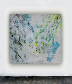 Large canvas abstract painting blue yellow black and white square wall art huge big modern contemporary