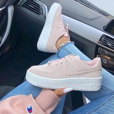 VISIT FOR MORE The new Nike Air Force 1 Sage Low Beige Trainers worn by girl with Champion Sweater and nails. Stylish shoes from Nike. The post Nike Air Force 1 Sage Low Beige appeared first on Outfits. Nike Shoes Outfits, Nike Air Shoes, Nike Sneakers, Sneakers Fashion, Fashion Shoes, Nike Fashion, Cool Nike Shoes, Fashion Outfits, Men Fashion