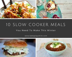 I can't decide if the pulled pork burger or the baked potatoes are my favourite, but these 10 slow cooker meals all look AMAZING!!! #slowcooker #crockpot #meals #best #dinners