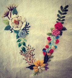 Hand embroidered letter V by Nina Based on makewells