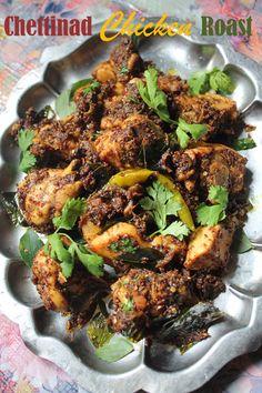 I love chettinad cooking, it is spicy and addictive. I have a chettinad mutton curry , chettinad potato roast , chettinad mushroom , che. Roast Recipes, Veg Recipes, Curry Recipes, Vegetarian Recipes, Cooking Recipes, Indian Chicken Recipes, Indian Food Recipes, Asian Recipes, Chicken Recepies