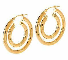 EternaGold Bold Polished Double Hoop Earrings 14K Gold. Always a go-to earring with twice the flash