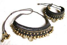 Gypsy Tribal Macrame Anklet Bracelet Necklace Goddess Goa Bellydance Ethno Bells Spirals Hippie Makramee