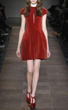 carven-red-cotton-velvet-cap-sleeve-dress-<3